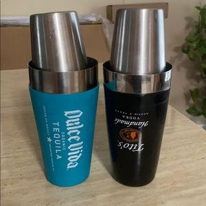 full size rubber coated stainless martini shakers